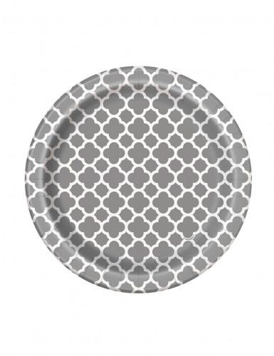 8 Petites assiettes en carton Grafik argenté 17 cm