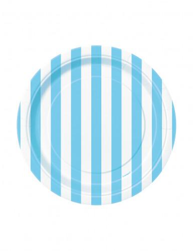 8 Petites assiettes rayures bleues en carton 17 cm