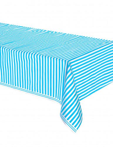 Nappe blanches à rayures bleues en plastique 137 x 274 cm