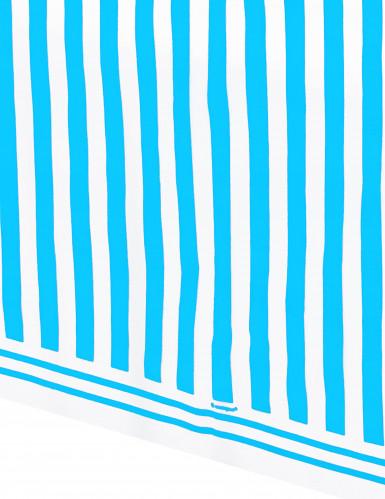Nappe blanches à rayures bleues en plastique 137 x 274 cm-1