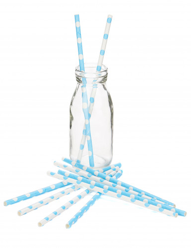 10 Pailles en carton bleues et blanches à pois 21 cm-1