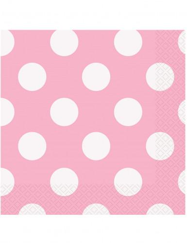 16 Serviettes en papier rose clair à pois blancs 33 x 33 cm
