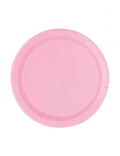 20 Petites assiettes en carton roses clair 17 cm