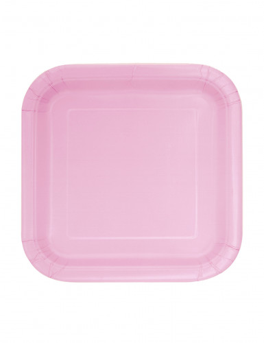 16 Petites assiettes carrées en carton rose clair 17 cm