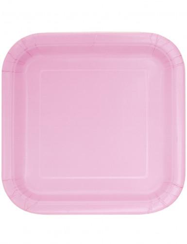 14 Assiettes carrées en carton roses clair 22 cm
