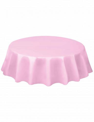 Nappe ronde en plastique rose clair 213 cm
