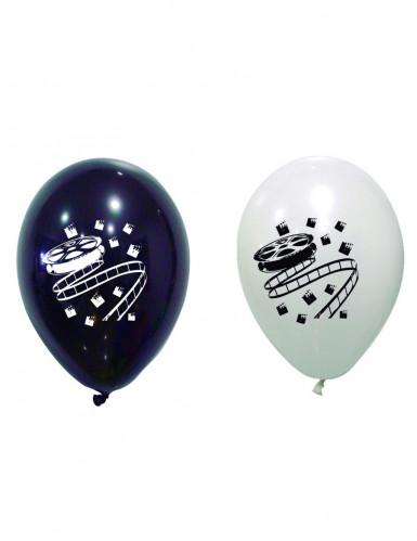 8 Ballons en latex cinéma noirs et blancs 30 cm