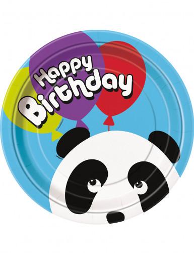 8 Assiettes en carton Anniversaire Panda 23 cm