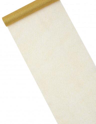 Chemin de table tulle doré à paillettes 29 cm x 5 m