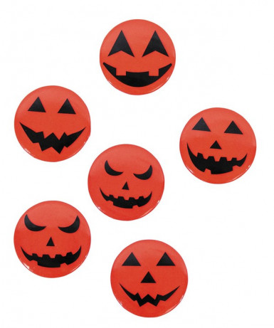 6 Badges citrouilles 3,7 cm Halloween