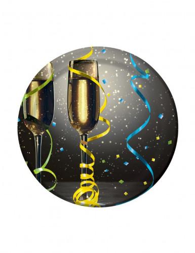 8 Petites assiettes en carton New year cotillons 18 cm