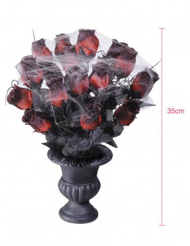 Bouquet roses rouges toile d'araignée 35 cm Halloween-1