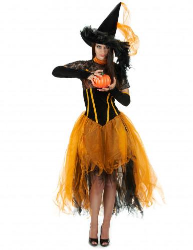 Déguisement sorcière dentellée orange femme Halloween