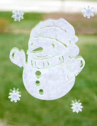 Décorations bonhomme de neige pour fenêtre Noël-1