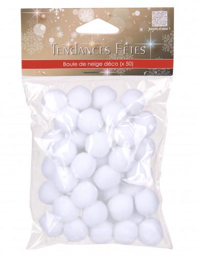 50 Mini pompons blancs-1