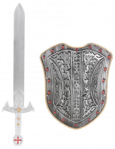 Kit bouclier et épée chevalier croisé en plastique pour Enfant