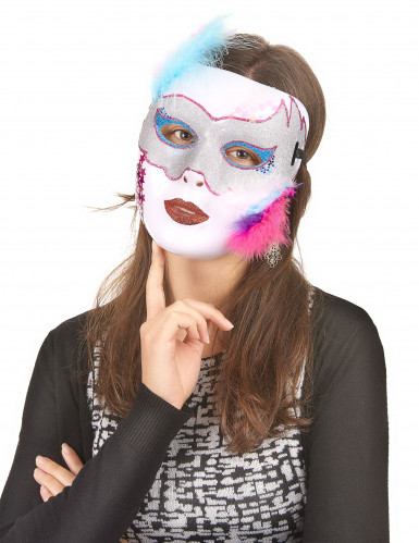 Masque blanc brillant Adulte -1