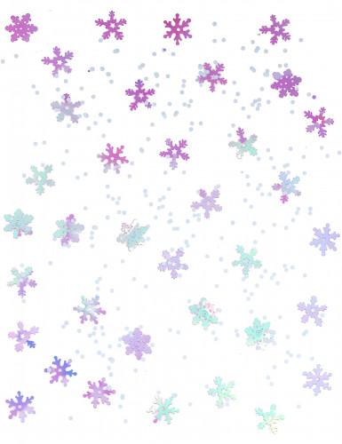 Confettis à relief flocons Noël violet et blanc-1