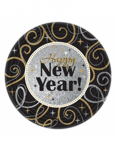 8 Assiettes en carton Happy New Year 23 cm