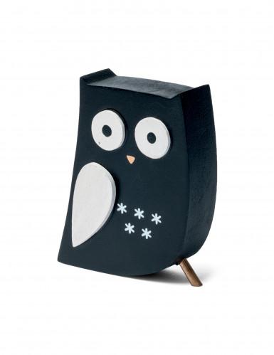 Hibou de décoration noir 9 cm