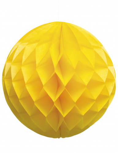 Boule papier alvéolée jaune 25 cm