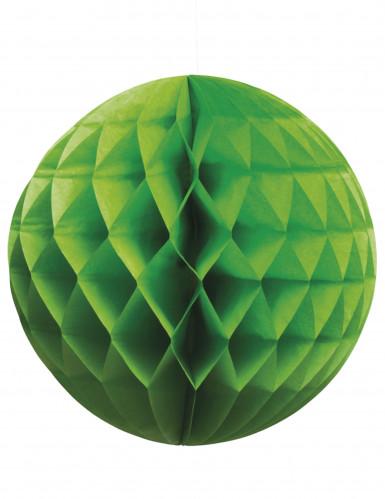 Boule papier alvéolée verte 25 cm
