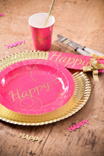 10 Assiettes en carton Happy fuschia 22.5 cm-1
