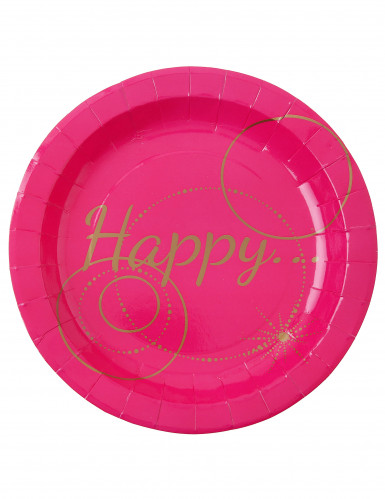 10 Assiettes en carton Happy fuschia 22.5 cm