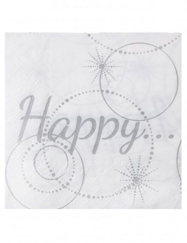 20 Serviettes en papier Happy blanches