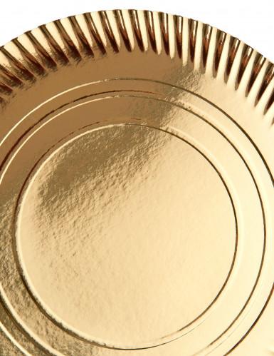 4 Sous assiettes en carton dorés 36 cm-1
