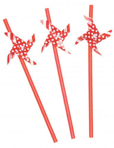 3 Pailles moulin à vent rouge et blanc