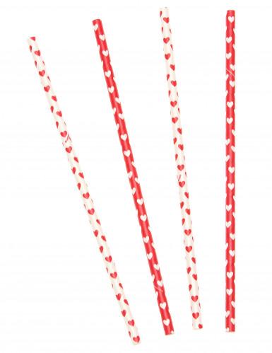 10 Pailles en carton cœurs Saint Valentin 21 cm