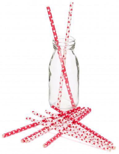 10 Pailles en carton cœurs Saint Valentin 21 cm-1