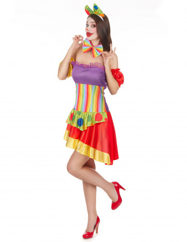 Déguisement clown bariolé femme-1