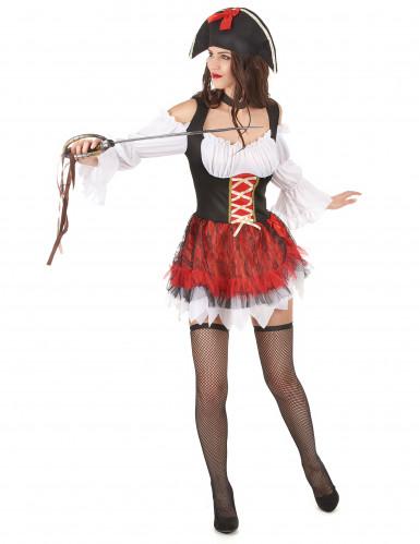 Déguisement pirate sexy blanc et rouge femme-1