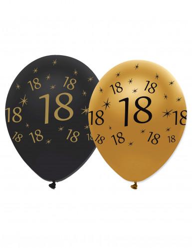 6 Ballons en latex 18 ans noirs et dorés 30 cm