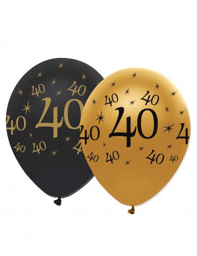 6 Ballons en latex 40 ans noirs et dorés 30 cm