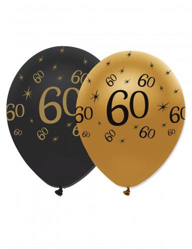 6 Ballons en latex 60 ans noirs et dorés 30 cm