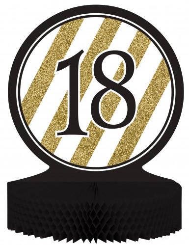 Centre de table en papier alvéolé 18 ans noir et doré 23 x 30 cm