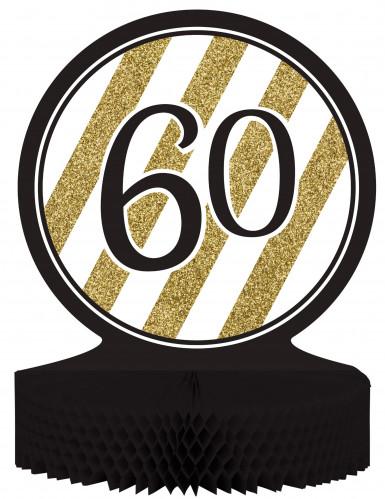 Centre de table en papier alvéolé 60 ans noir et doré 23 x 30 cm
