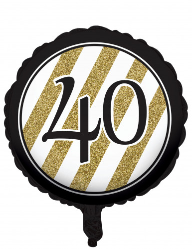 Ballon aluminium 40 ans noir et doré 46 cm