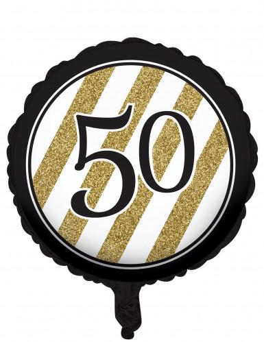 Ballon aluminium 50 ans noir et doré 46 cm