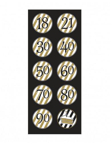 5 Suspensions spirales Anniversaire Noir et or-1