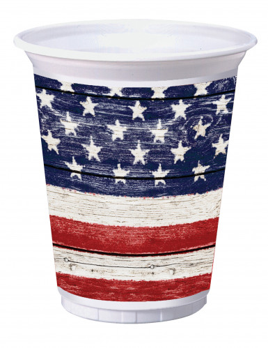8 Grands gobelets USA en plastique 473 ml