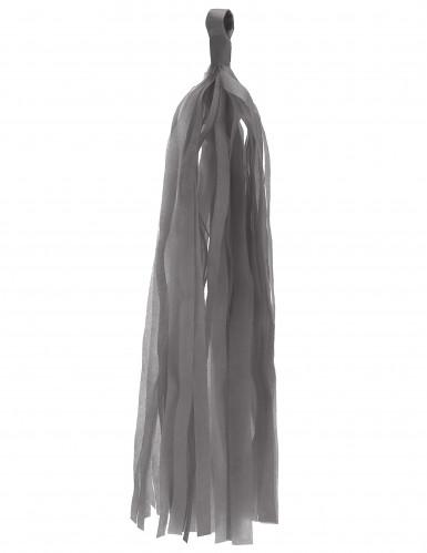 6 Pompons tassel gris