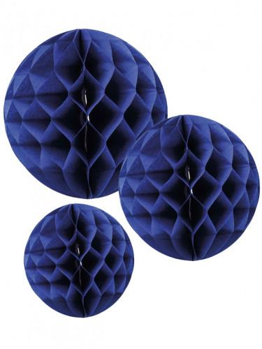 3 Boules en papier alvéolé bleu marine 15, 20 et 25 cm
