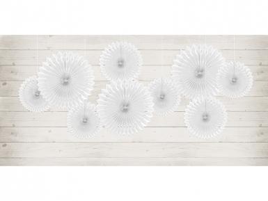 3 Rosaces éventails en papier blanc 20, 25 et 30 cm-2