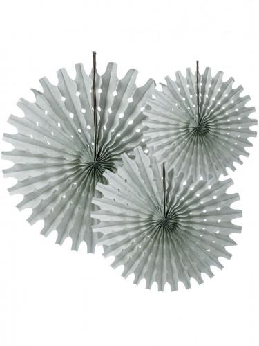 3 Rosaces éventails en papier gris 20, 25 et 30 cm