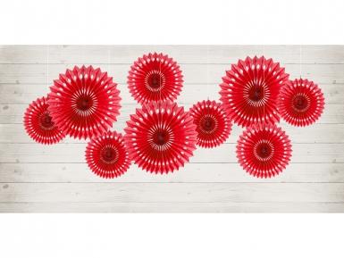 3 Rosaces éventails en papier rouge 20, 25 et 30 cm-1