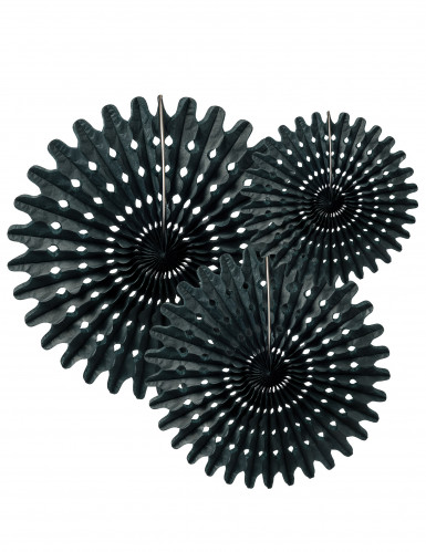 3 Rosaces éventails en papier noir 20, 25 et 30 cm